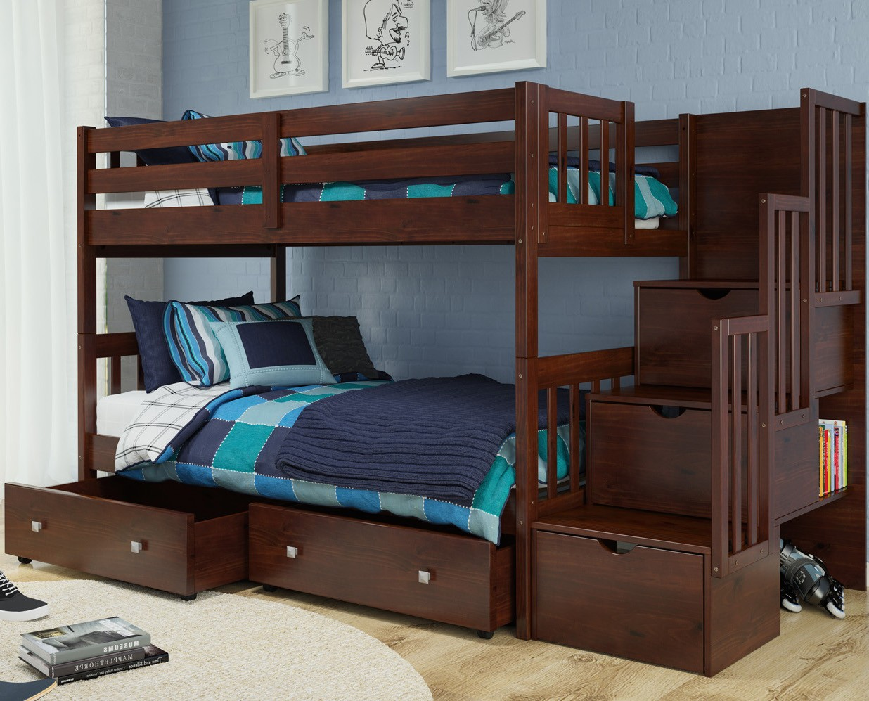 1019-TTCP Stairway Bunk Bed & 505-CP Cappaccino