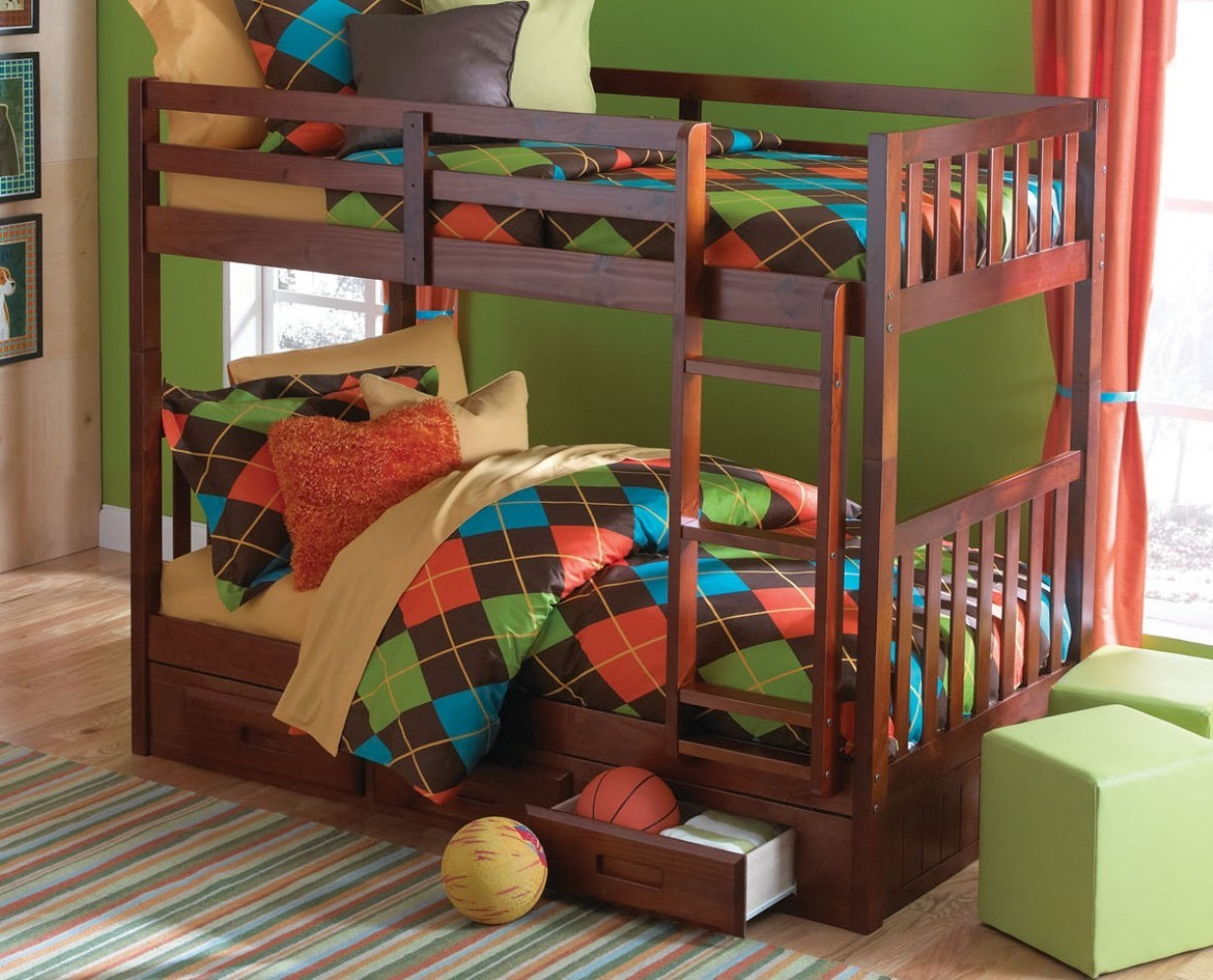 2810 Merlot Twin Twin Bunk Bed