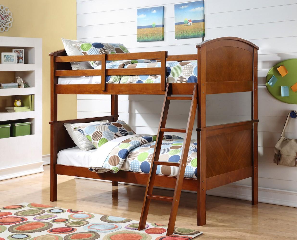 314-TTO Arch Panel Bunk Bed Oak